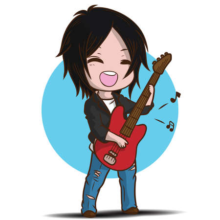Cartoon Cute Boy is playing the guitar. Musical performance. Banque d'images - 138636603