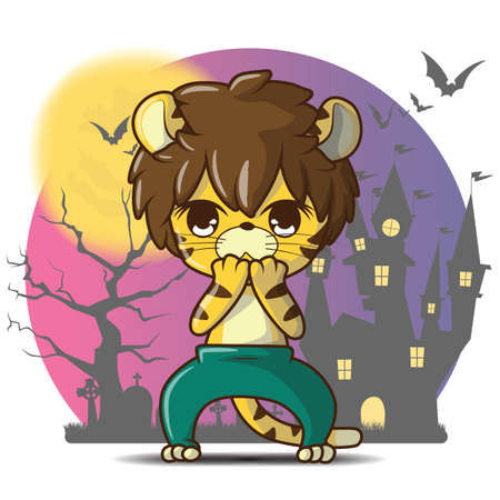Cute cartoon Halloween Character The man transforms into a tiger. Ilustração