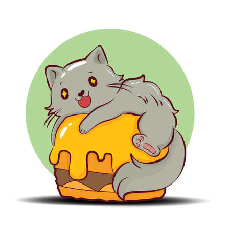 Cute Persian cat cartoon character vector.