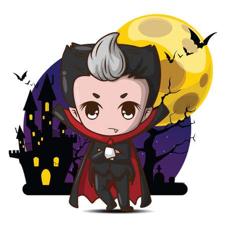 cute Dracula cartoon character in full moon background.