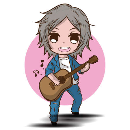 Cartoon Cute Boy is playing the guitar. Musical performance. Banque d'images - 138636834