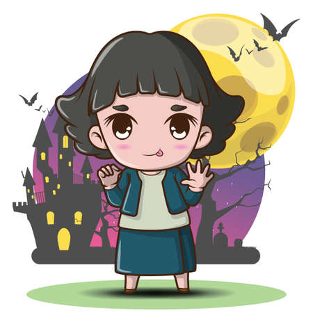 Cute Pop Ghost on Full moon background, Pop Ghost is a household divinity of Thai folk religion. Halloween concept.
