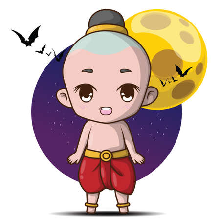 cute Kuman thong cartoon. Ghost child., Kuman thong is a household divinity of Thai folk religion. Halloween concept.