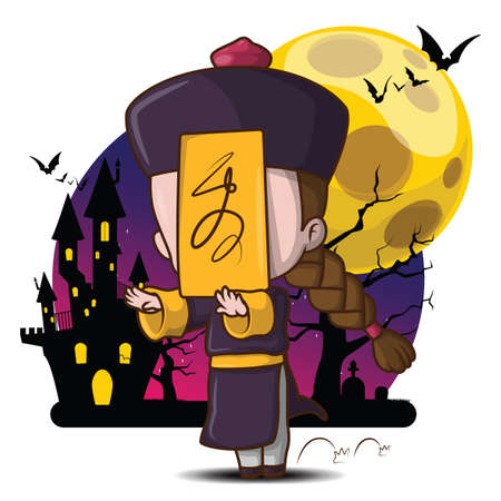 Jiangshi Chinese Hopping Vampire Ghost for Halloween on full moon background, Cute Cartoon Character