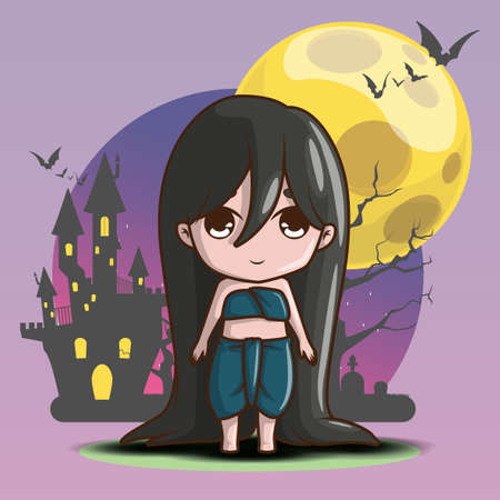 Cute Mae Nak Ghost on Full moon background, Mae Nak Ghost is a household divinity of Thai folk religion. Halloween concept.