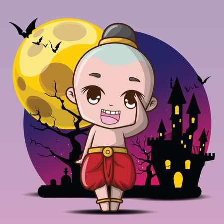 cute Kuman thong cartoon, Ghost child, Kuman thong is a household divinity of Thai folk religion. Halloween concept.