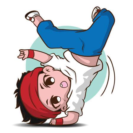 Cute dancer cartoon character., job concept. 矢量图像
