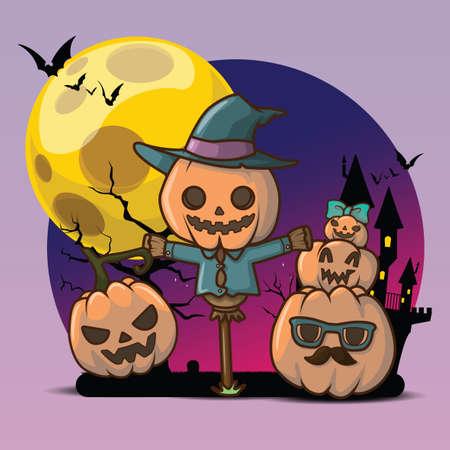 Cute pumpkin devil at Full moon background, Halloween character concept.
