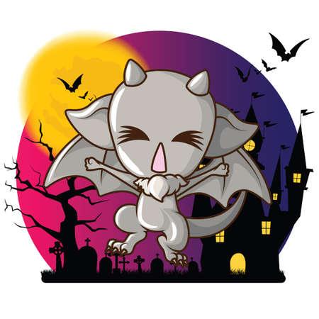 Cute gargoyle cartoon character at Full moon background. Vectores