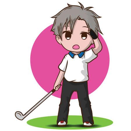cute boy golf cartoon character