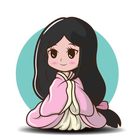 Cute Girl Japanese in Princess costume., Character cartoon Иллюстрация