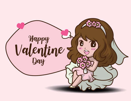 Cute Girl Holding rose and message Happy Valentine day