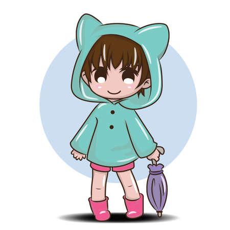 Cute Girl to be happy on Rainy season