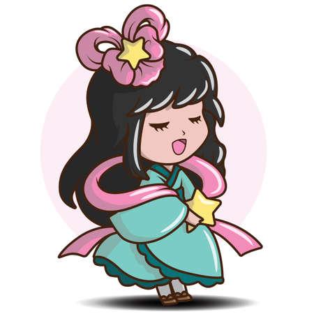 Cute Girl Japanese in Princess costume., Character cartoon  向量圖像