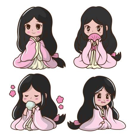 Set Cute Girl Japanese in Princess costume., Character cartoon  向量圖像