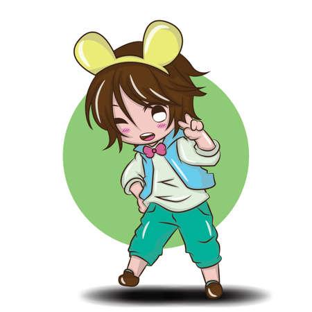 Cute Boy Happy and fun., Cute boy cartoon concept. Banque d'images - 141889616