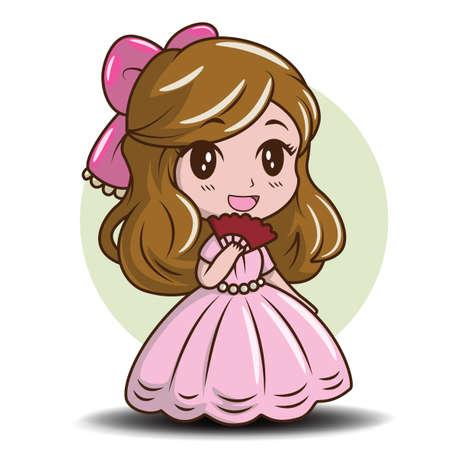 Cute Little Girl Wearing a Princess., Fairy tale cartoon concept.