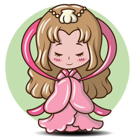 Cute Girl Japanese in Princess costume., Character cartoon  Ilustração
