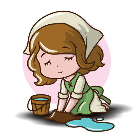 Cute Maid cartoon Character. Job cartoon concept. 向量圖像