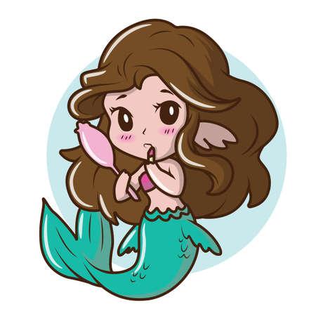 Cute Girl costume a mermaid., fairy tale cartoon concept. 向量圖像