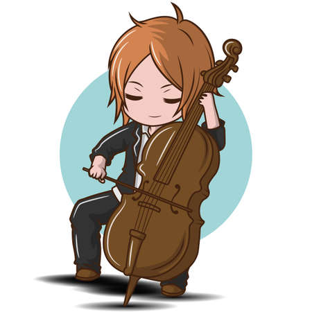 Cute boy Playing the Double bass., music concept.