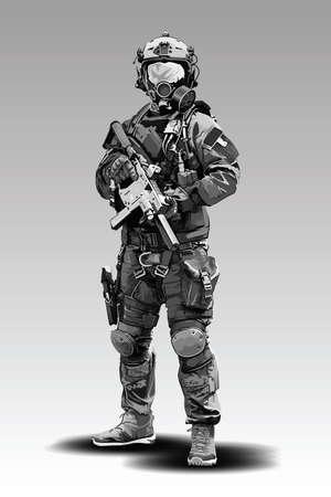 Illustration de tir tactique de policier de vecteur. Des militaires de la police armés se préparent à tirer avec un fusil automatique. Vecteurs