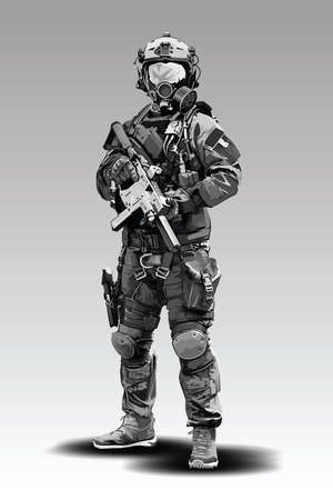 Vector Policeman Tactical Shoot Illustration. Armed police military preparing to shoot with automatic rifle.