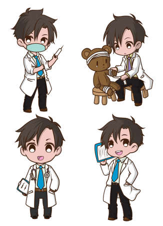 Set Cute cartoon character doctor style.