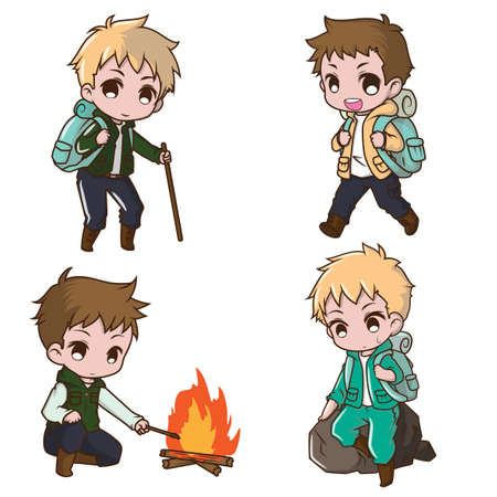 Set Cute Boy Camping., Forest Camp concept.