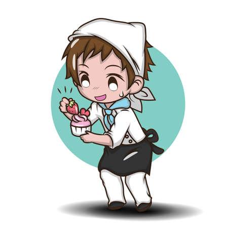 Cute Cartoon funny chef. character Job concept.