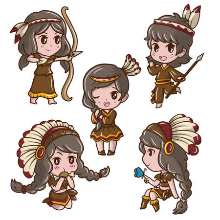 Set Cute Girl in Red indian Costume. Ilustrace