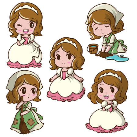Set Cute Little Girl Wearing a Princess., airy tale cartoon concept. Ilustrace
