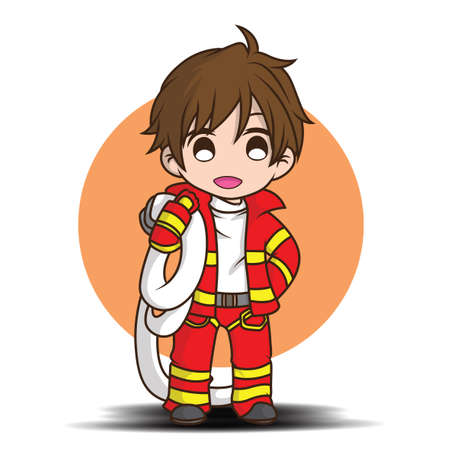Cute young boy wearing Firefighter cartoon Ilustrace