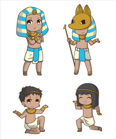 Set Cute Boy in egyptian costume., cartoon character.
