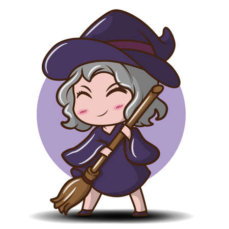 Cute Girl in witch costume., fairy tale cartoon concept.
