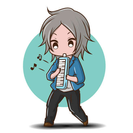 Cute boy Playing Melodian., cartoon music concept.
