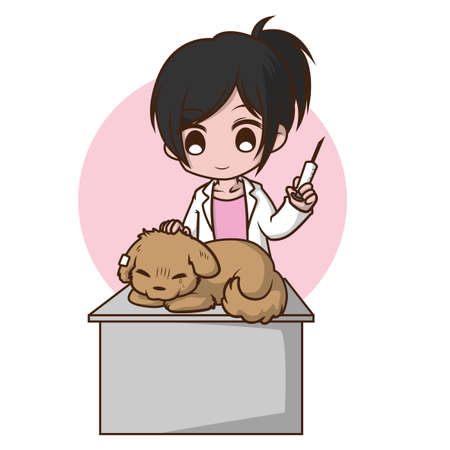 Cute Girl on Veterinary., job concept.