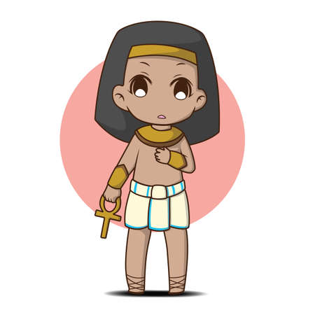 Cute Boy in egyptian costume., cartoon character. Ilustrace