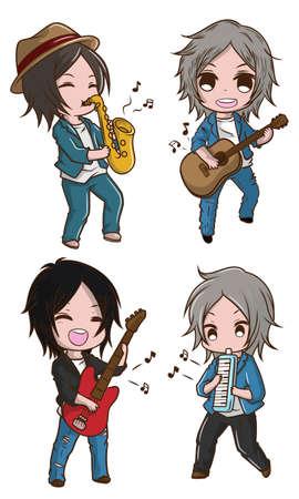 Set Cute boy in Musician costume., cartoon Musician.