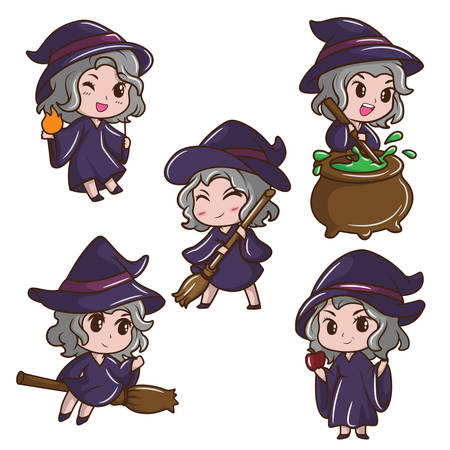 Set Cute Girl in witch costume., fairy tale cartoon concept.