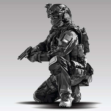Vector Policeman Tactical Shoot Illustration. Armed police military preparing to shoot with automatic Gun.