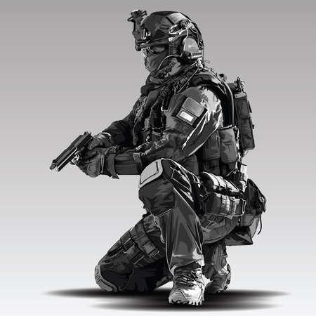 Illustration de tir tactique de policier de vecteur. Des militaires de la police armés se préparent à tirer avec un pistolet automatique.