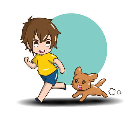 Cute Boy playing with Dog. Love Dog concept.
