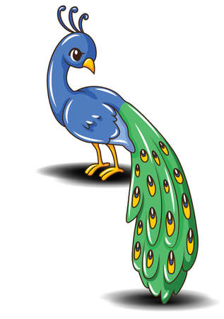 Cute peacock cartoon vector., animal cartoon concept.