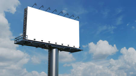 Mockup Large billboard or poster displayed on the outdoor against the blue sky background. 3D rendering. Cilpping path. Imagens