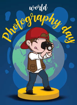 Cute boy in Photography costume., World Photography day concept.
