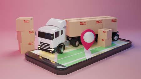 3D Delivery truck loaded with a cardboard box and smartphone with map pointer. Delivery and shipping service concept.