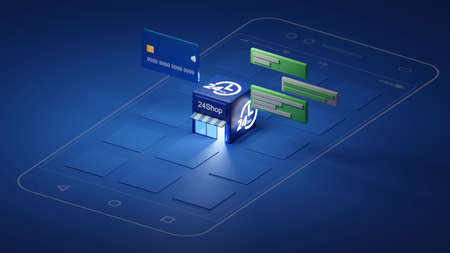 Shop Application on smart phone. 3D Rendering.