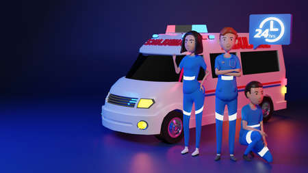 Cute Emergency Team Character and Ambulance Always ready., 3D rendering Foto de archivo