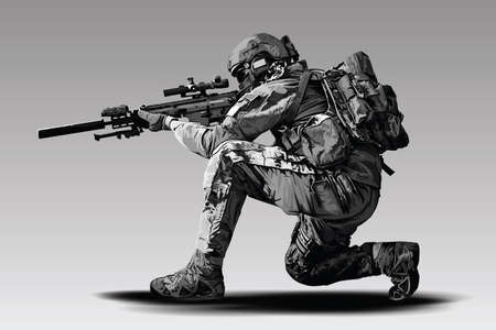 Vector Policeman Tactical Shoot Illustration. Armed police military preparing to shoot with automatic sniper rifle. Vectores